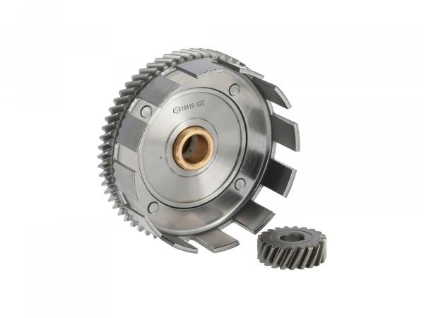Set: Clutch basket with brass bush + drive pinion, 62/21 tooth - Simson S70, S83, SR80