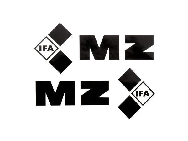 """Set: 2x Schriftzug (Folie) """"IFA MZ"""" schwarz für Tank - für MZ ETZ125, ETZ150, ETZ250"""