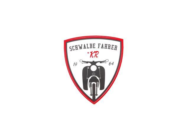 """Aufkleber - """"Schwalbe Fahrer #KR"""" Rot/Weiß/Schwarz, Wappen"""