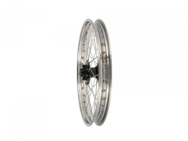 "Spoked wheel 1,6 x 19"" for disc brake, stainless steel rim, stainless steel spokes, black hub - Simson S53, S83"