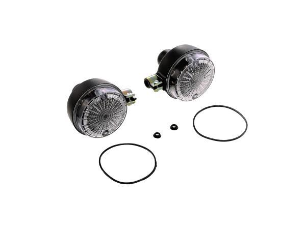 Set: 2 Blinker hinten, rund in Schwarz mit weißem Glas - Simson S50, S51, S70, SR50, SR80, MZ ETZ, TS