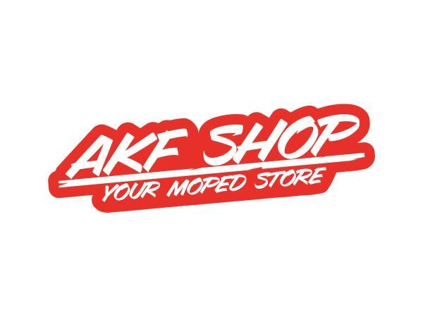 """10070129 Aufkleber - """"AKF Shop - your moped store"""" Rot/Weiß, konturgeschnitten - Bild 1"""