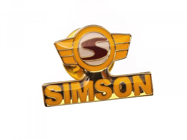 SIMSON-Pin Logo in Gelb/Rot