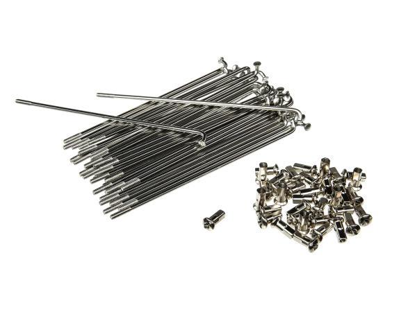 10010421 Set: Speichen mit Nippel - 143,5mm M3,5 in Edelstahl für 16Zoll - Simson S50, S51, S70, KR51 Schwalbe, SR4 Vogelserie - Bild 1