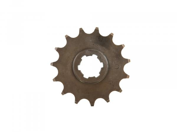 Chain wheel on gear/pinion, 15 teeth - MZ TS/ES 125,150