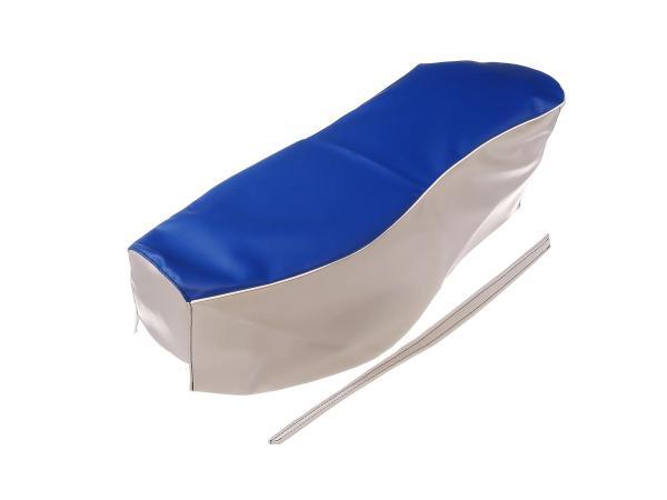 Sitzbezug blau-grau mit Haltriemen (Doppelsitzbank) - für AWO-Sport