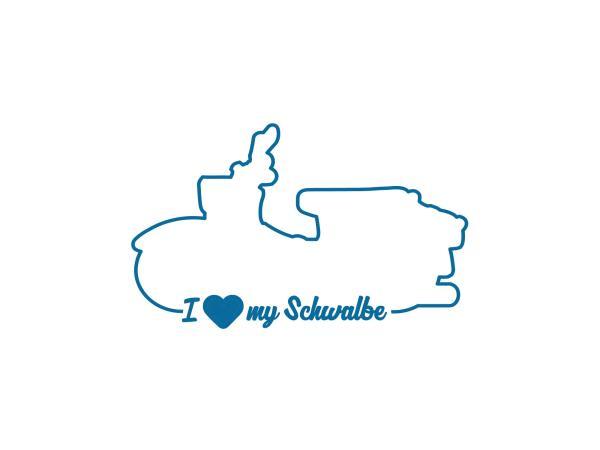 """10069158 Aufkleber - """"I LOVE MY SCHWALBE"""" Folienplot Blau, mit Übertragungsfolie - Bild 1"""