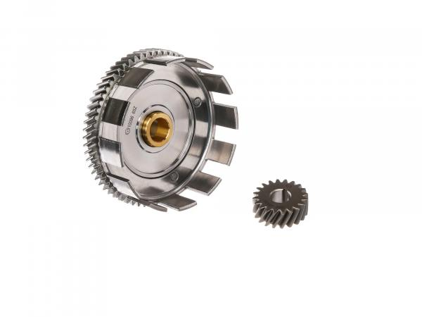 Set: Clutch basket with brass bush + drive pinion, 65/20 tooth - Simson S51, S53, SR50, KR51/2 Schwalbe