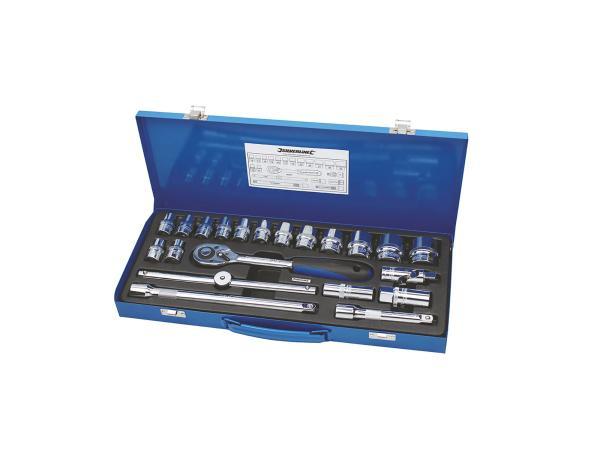 Steckschlüsselkasten mit Ratsche, 1/2-Zoll-Antrieb, 21-teilig