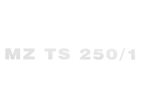"""Schriftzug (Folie) """"MZ TS 250/1"""" chrom für Werkzeugkastendeckel/Sitzbank - für MZ TS250/1"""