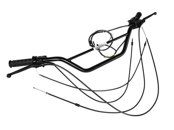 10001184 Lenkereinheit Tommaselli Schwarz, hohe Ausführung, mit Teilegutachten - Simson S51, S50, S53, S70, S83 - Bild 1