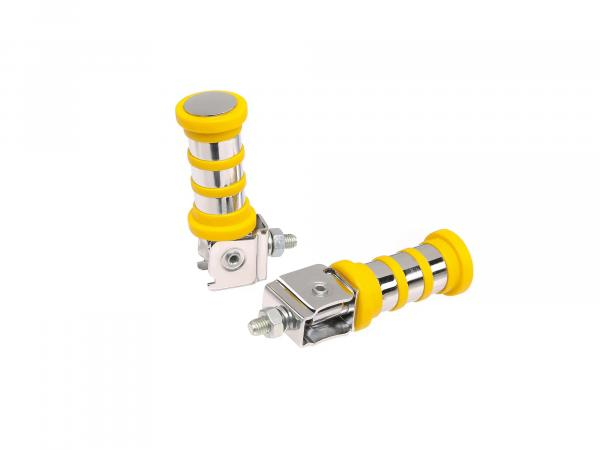 SET Passenger footrest left and right, chrome-plated, 3 rings, yellow, ETZ