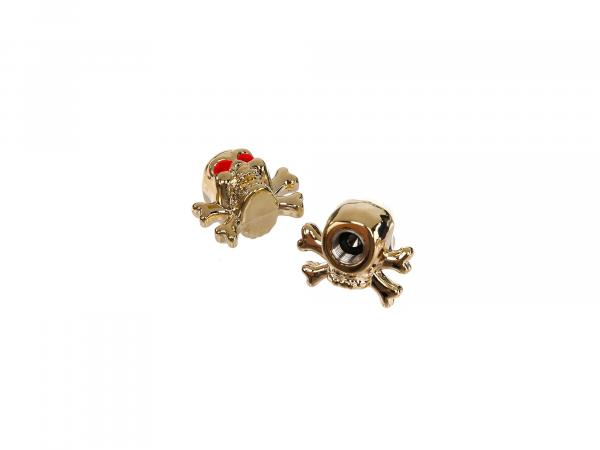 Set: 2x valve cap skull with bone, gold