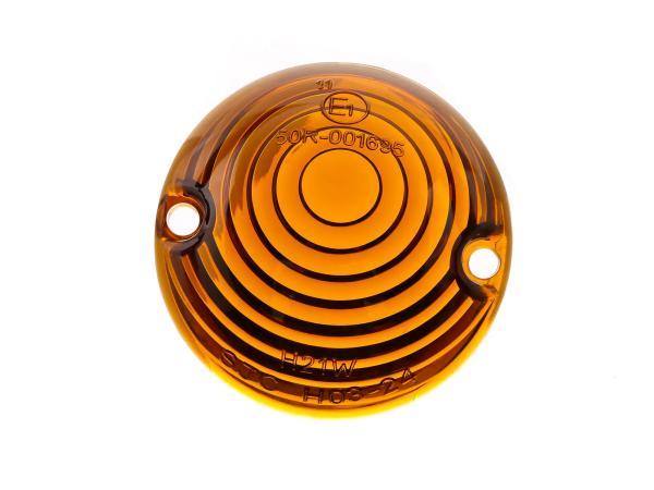 Blinkerkappe Ochsenauge, Orange getönt - für Simson KR51 Schwalbe - MZ ES - IWL TR150 Troll