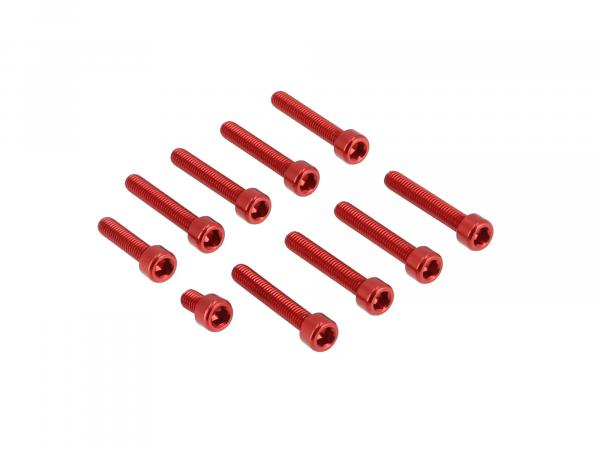10070563 Set: Aluminium-Schrauben, Innensechskant in Rot für Kupplungs- und Lichtmaschinendeckel Motor S51 - Bild 1