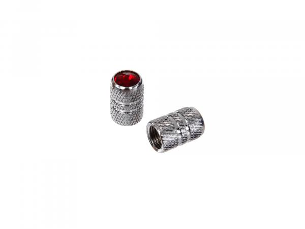 10065858 Set: 2x Ventilkappe Pin mit Strass , Chrom, Rot - Bild 1