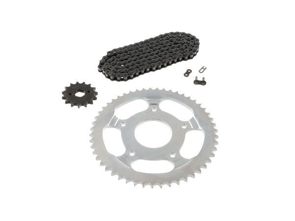 Sprocket drive set (chain set) 80km/h (throttled) - for Simson 125 Schikra