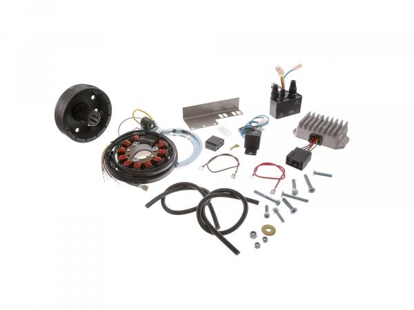Magneto-light ignition system 12V 150W with integrated fully electronic ignition for 2 cylinders JAWA (18/354/360/361/362/633)