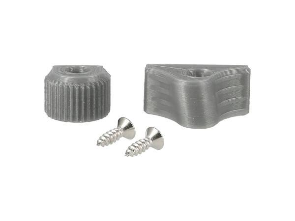 10069330 Set: Abblend- & Blinkerschalterknopf 3D, Silbergrau - für S51, S70, SR50, SR80, ETZ - Bild 1