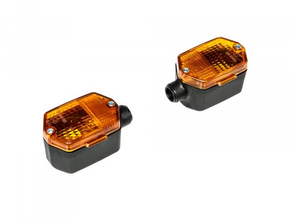 Set: 2 turn signals hexagonal in black with orange glass - Simson S53, S83, SR50, SR80 - MZ ETZ