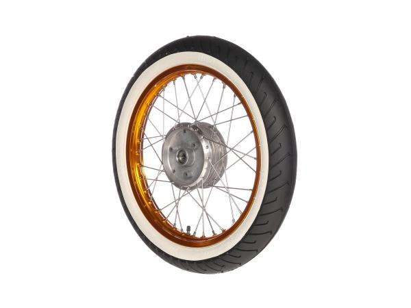 """10066193 Komplettrad vorn 1,5x16"""" Alufelge orange + Edelstahlspeichen + Weißwandreifen Mitas MC2 - Bild 1"""
