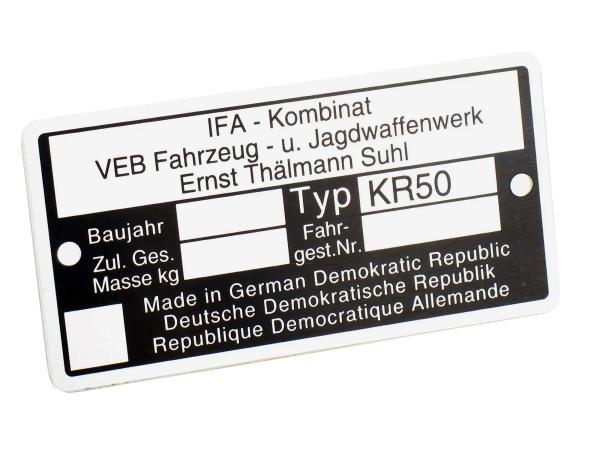 Typenschild KR50 Aluminiumplakette