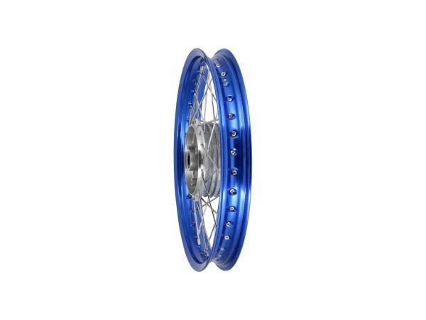 "Spoked wheel 1,6 x 16"" aluminium rim, blue anodized, stainless steel spokes - Simson S50, S51, KR51 Schwalbe, SR4"