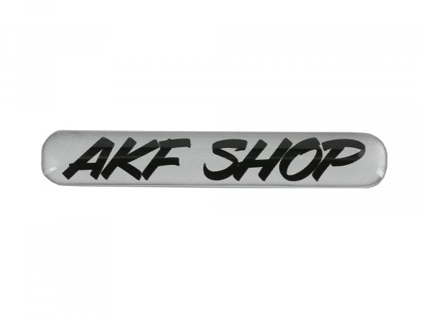 "10070617 Gelaufkleber - ""AKF Shop"" silber/schwarz - Bild 1"