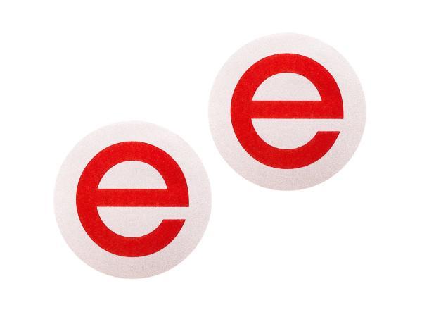 """Set: 2x Schriftzug (Folie) """"e"""" silber/rot für Seitendeckel - für MZ ETZ250, ETZ251, ETZ301"""