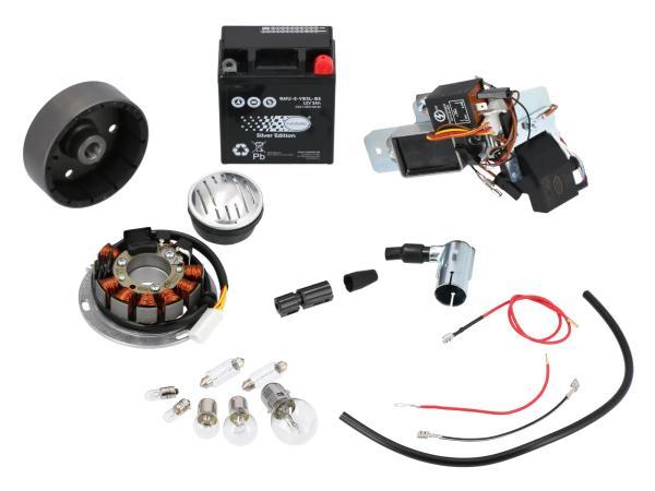 GP10068577 Set: Umrüstsatz VAPE auf 12V, Magnete vergossen (mit Batterie, Hupe und Leuchtmittel) - Simson KR51/1 Schwalbe, KR51/2 Schwalbe - Bild 1