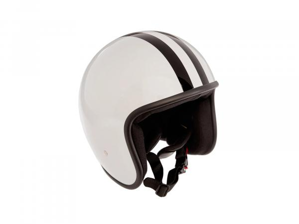 """K10000104 ARC Helm """"Modell A-611"""" Retrolook - Altweiß mit Streifen - Bild 1"""