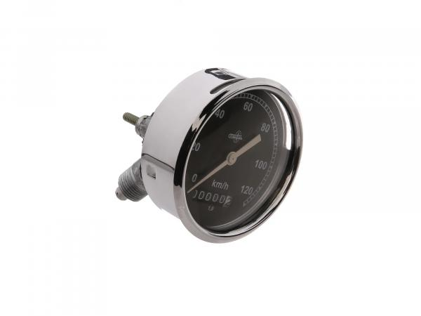 Tachometer BK350 (Travel speed 1) - BS 80/120 DIN 75521 - Chrome-plated housing, convex tachometer glass