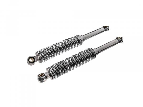 Set: shock struts, adjustable, chrome, length: ca. 360mm - Simson KR51 Schwalbe, SR4 Vogelserie