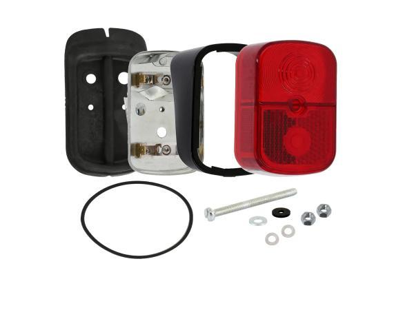 GP10000700 Rücklicht rot, eckig, mit Sockel schwarz + Befestigungsmaterial - für Simson KR51/1 Schwalbe - Bild 1
