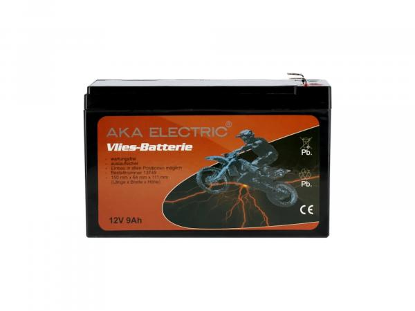Batterie 12V 9Ah AKA (Vlies - wartungsfrei) - für MZ ETZ 125, ETZ 150, ETZ 250, ETZ 251, ETZ 300