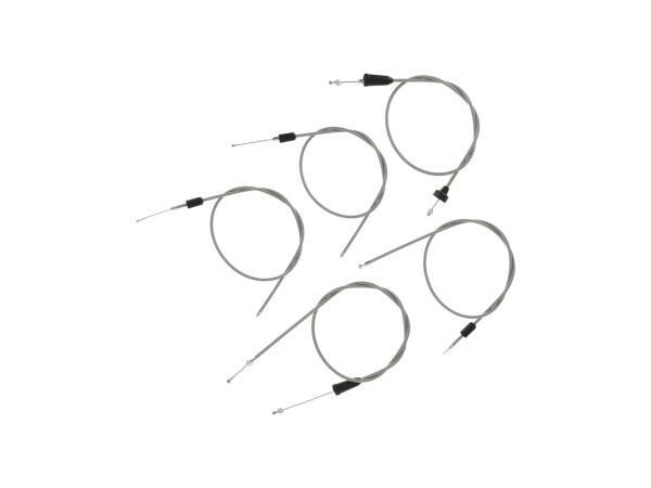 10069824 Set: 5 Bowdenzüge grau, Flachlenker - MZ TS 250, 250/1 - Bild 1