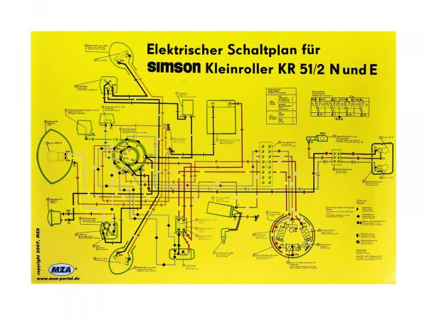 Circuit diagram color poster (69x49cm) Simson Schwalbe KR51/2 N and E