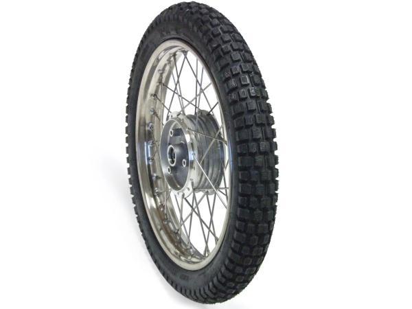 """Komplettrad vorn 1,5x16""""  Stahlfelge verchromt + Chromspeichen + Reifen Vee Rubber (wie K46)"""