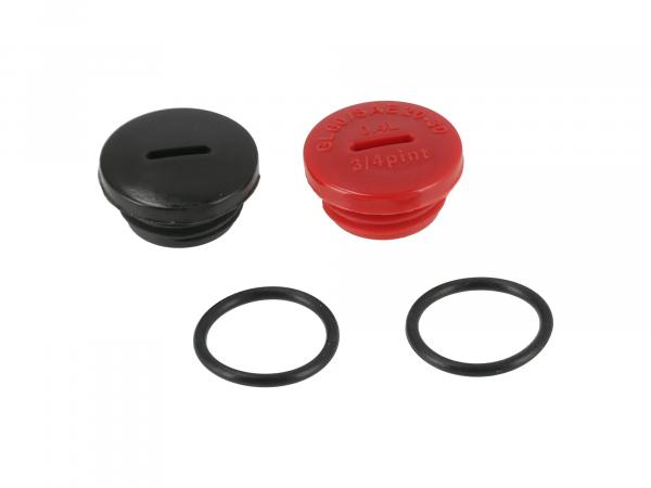 Set: 2 screw plugs gearbox cover in red and black with O-rings