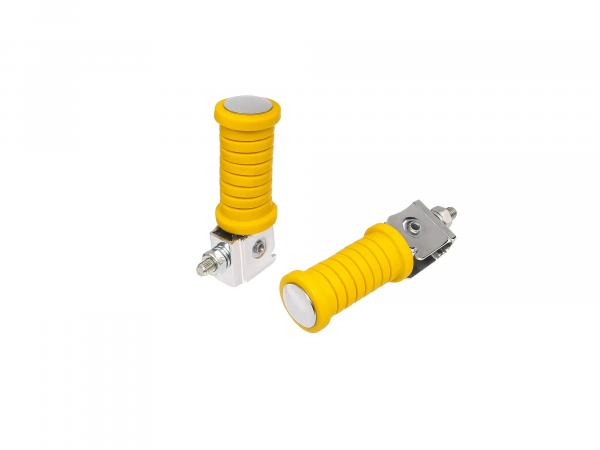 Set: 2 passenger footrests - (left / right) yellow smooth chrome MZ ETZ