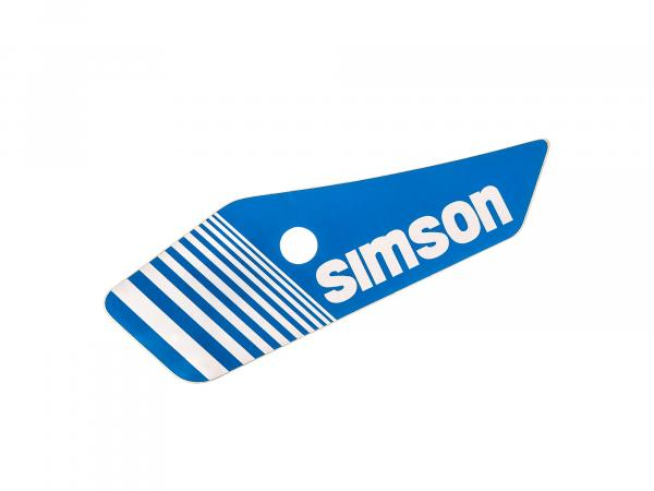 Adhesive foil for side cover, left, blue/white - Simson S53, S83