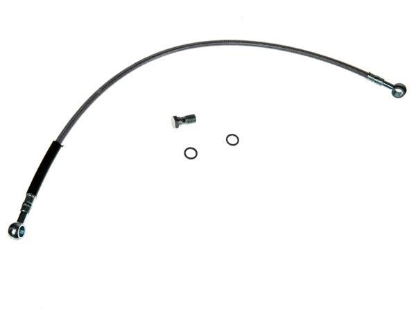 Set Bremsleitung - Stahlflex rostfrei - klare Kunststoffummantelung - 530mm lang - 1x Hohlschraube + 2x Dichtscheiben S53 S83