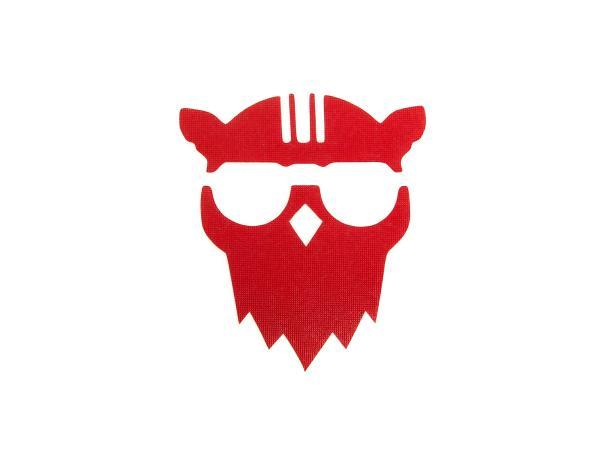 """Aufkleber - """"Eule mit Helm"""" Folienplot Rot, mit Übertragungsfolie"""