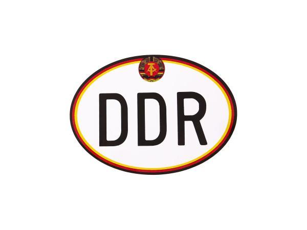 """Aufkleber - """"DDR"""" groß, mit Hammer und Zirkel, Oval"""