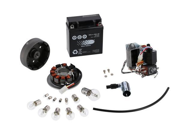 Set: Umrüstsatz VAPE auf 12V (mit Batterie, Hupe und Leuchtmittel) - Simson SR50, SR80