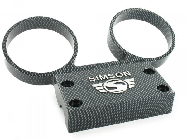 Set: Fitting holder - aluminium carbon with attachments - for round instruments Ø60mm speedo + DZM - SIMSON logo raised - S50, S51, S53, S70, S83