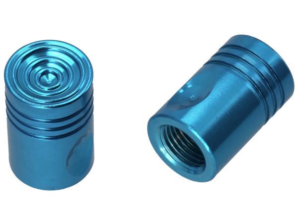 10065856 Set: 2x Ventilkappe Pin, Blau eloxiert - Bild 1