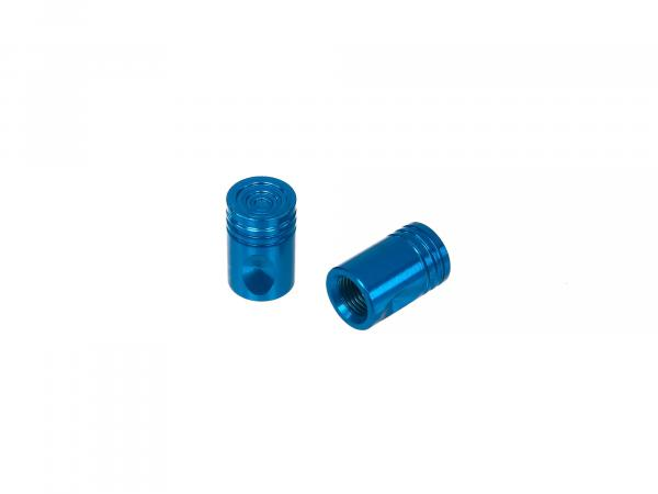 Set: 2x Ventilkappe Pin, Blau eloxiert