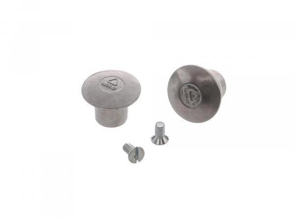 SET 2x end mushroom, end stopper, end cap + 2x countersunk screw f. Handlebar, left + right - RT, BK, suitable for AWO