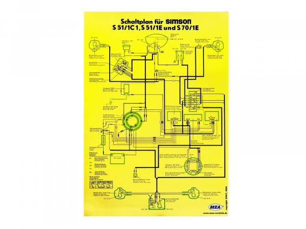 Circuit diagram colour poster (40x57cm) Simson S51/1 C1, S51/1 E, S70/1E